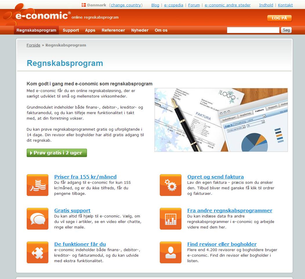 e-conomic online regnskabsprogram forside